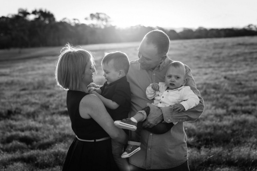 Black and white Family shoot in Rouse Hill NSW Australia